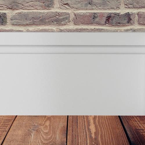 Imagem 1 de 5 de Rodapé Poliestireno 10cm Alt Branco Frisado Valor Do M Rf100