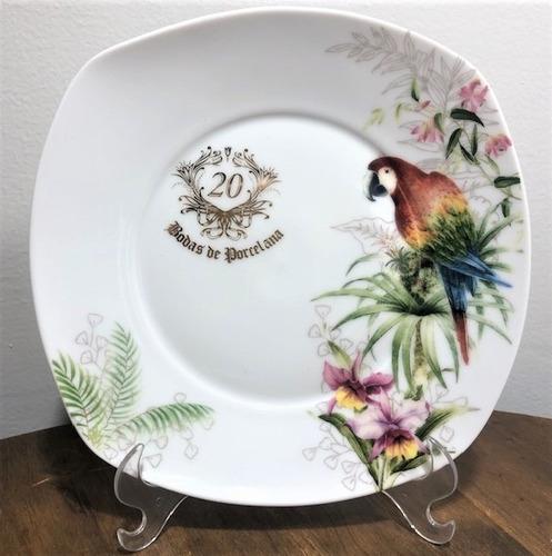 Prato Arara Para Bodas De Porcelana 20 Anos De Casamento