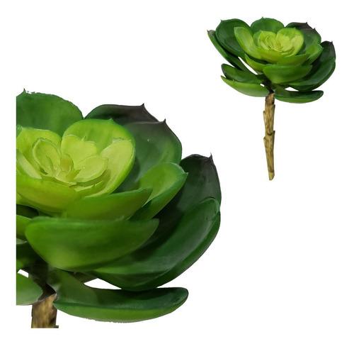 Imagem 1 de 2 de Kit 2 Planta Suculenta Lótus Artificial 16 Cm Decoração