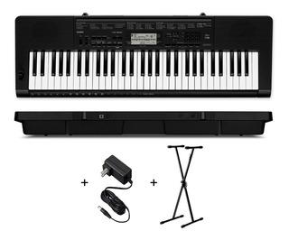 Teclado Organo Casio Ctk3500 Sensitivo De 5 Octavas 61 Teclas Polifonia De 48 Voces Con Dance Music Usb Midi Con Soporte