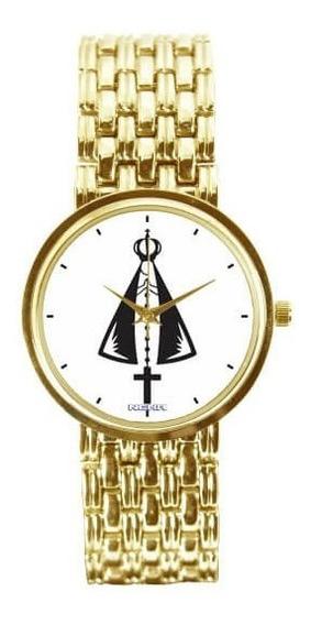 Relógio Dourado Fundo Branco Nossa Senhora Aparecida 3330