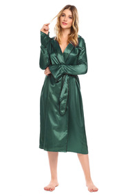 Mulheres Longo Alargamento Manga Cetim Robe Roupa De Dormir
