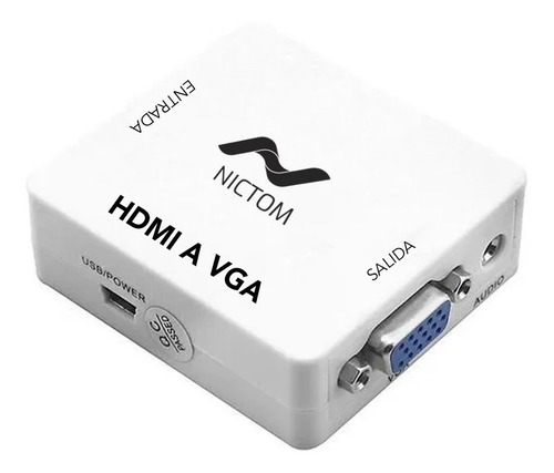 Conversor Adaptador Hdmi A Vga Activo Con Audio Local