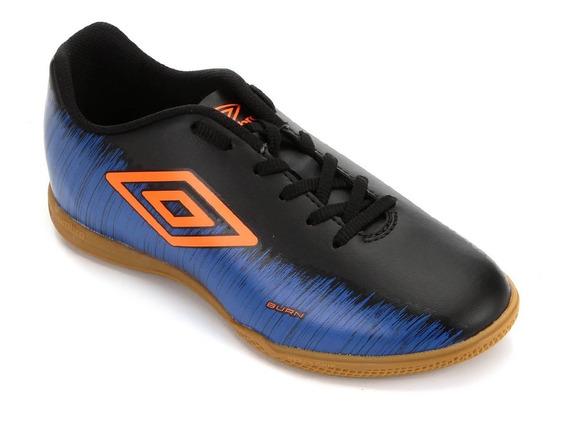Chuteira Futsal Umbro Burn - Preto E Azul