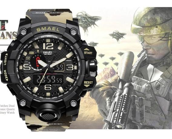 Relógio Militar Exército Smael Super- Camuflado + Box Metal
