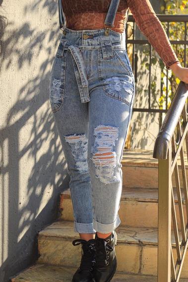 Jardineira Macacão Jeans Feminino Rasgada Levanta Bumbum2019