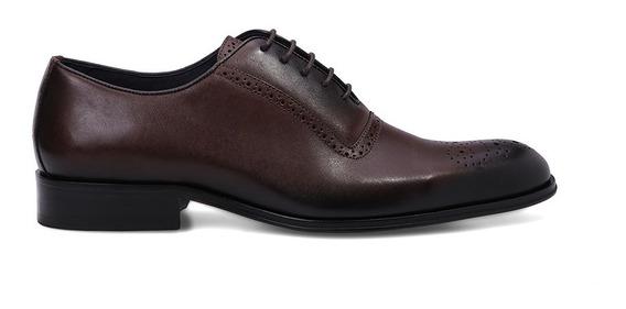 Sapato Social Masculino Oxford Brogue Tabaco Couro Premium