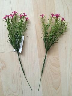 2 Ramos Artificiales Chicos Con Flores Moradas