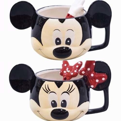 Kit De Canecas Porcelana Rosto Mickey E Minnie Oficial