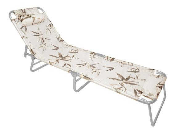 Espreguiçadeira Com Alça Zaka Slim Alumínio Bambu