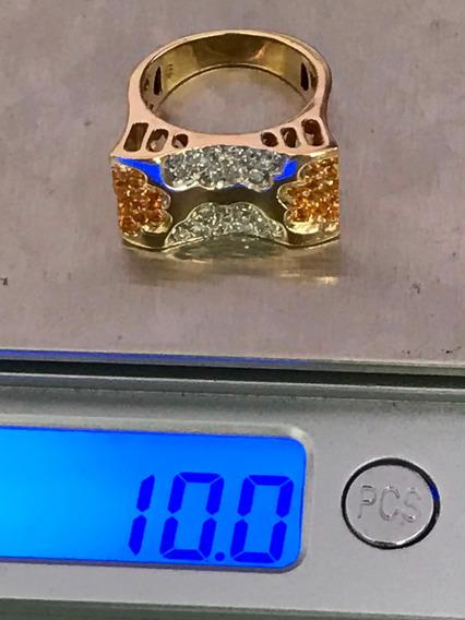 Anel Ouro 18k-10.0gr. Aro-16-17-c/brilhantes E Lindas Pedras