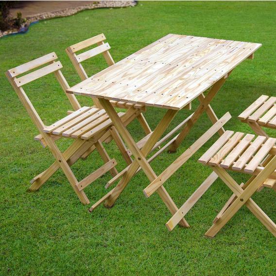 Conjunto Mesa 4 Cadeiras Dobráveis 120cm X 60cm Siena Ej