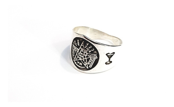 Anillo Tetragramaton Pentagramas Plata Ley 925 Envío Gratis