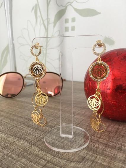 Brinco Fashion Semi Joia Moda Africa - Banhado A Ouro E Com