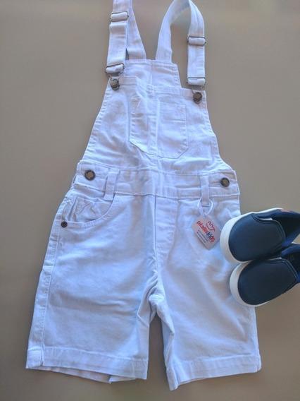Jardineira Jeans Branca Paladino Kids