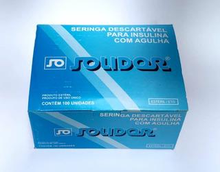 Seringa Insulina 1ml Com Agulha 8 X 0,30 Solidor C/100 Und
