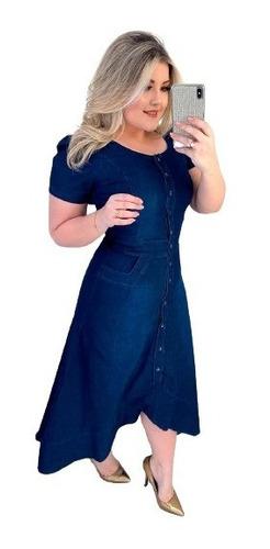 Imagem 1 de 4 de Vestido Jeans Midi Mullet Evangelico Babados Moda Feminina