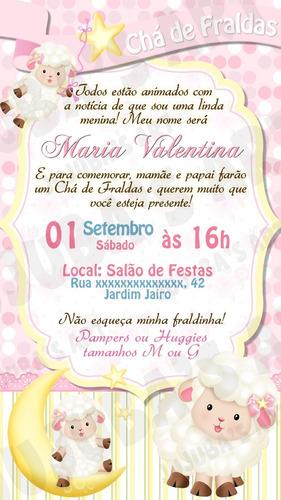 Imagem 1 de 2 de Convite Digital Chá De Fraldas Ovelhinha Chá De Bebê Menina