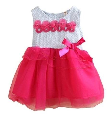Vestido De Fiesta Flores Con Tul Bebe Niña De 2 Años Nuevo