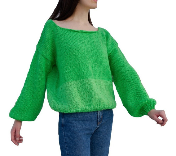 Sweater Greta Verde Lima Mujer Tejido A Mano
