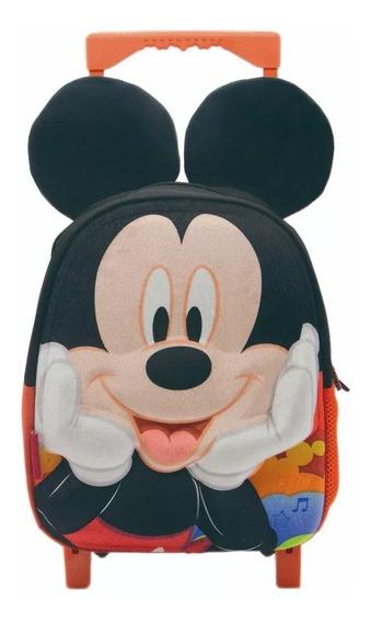 Mochila Jardin Con Carro Con Orejas Mickey Minie Oficial Lc