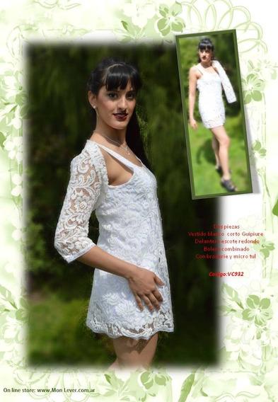 Vestido Corto Blanco Con Relieve Elastizado Y Bolero Regalo