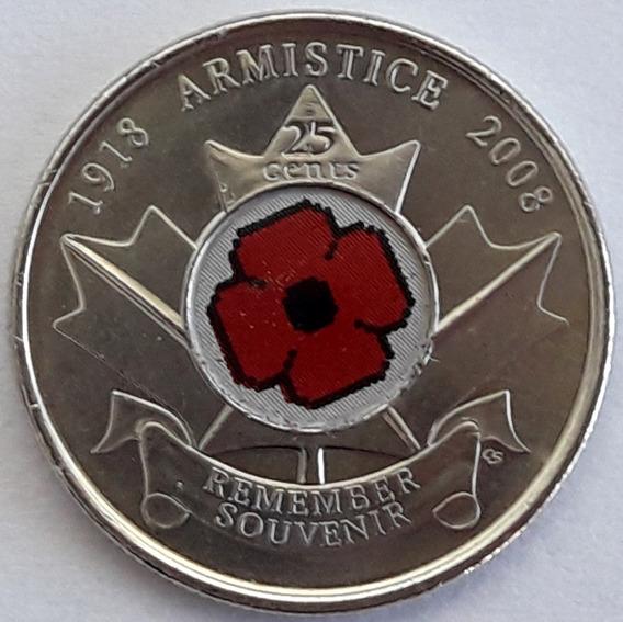 Canadá Moneda Año 2008 De 25 Cents Esmaltada Sin Circular