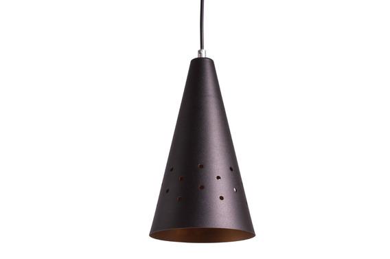 02 Pendente Cone Alumínio Luminária Com Furos Cobre Ref:8030