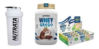 Whey Grego + Whey Grego Barra (12 Un) + Coqueteleira