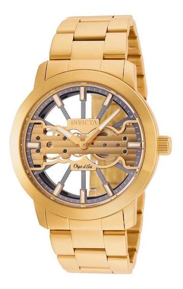 Relógio Invicta Objet D Art 25270 B.ouro 18k 45mm Automático