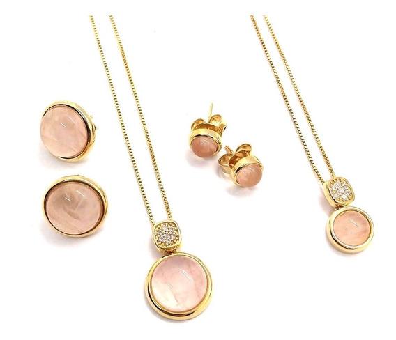 Conjuntos P/ Mãe E Filha De Quartzo Rosa Folheado À Ouro