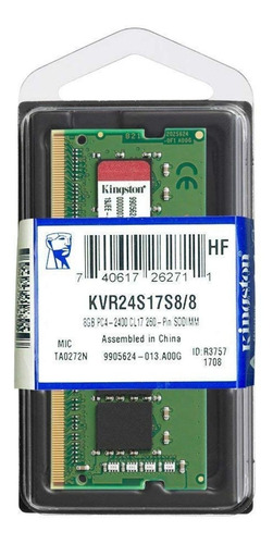Memoria RAM 8GB 1x8GB Kingston KVR24S17S8/8 ValueRAM