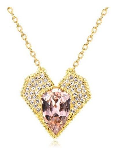 Collar Corazón Champagne Swarovski + Certificad Envió Gratis