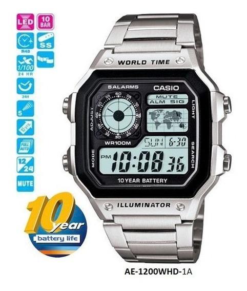 Relógio Casio 1200whd Original Mapa Mundo Tempo Multifunção