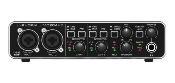 Behringer Interface Para Gravação De Áudio U-phoria Umc204hd