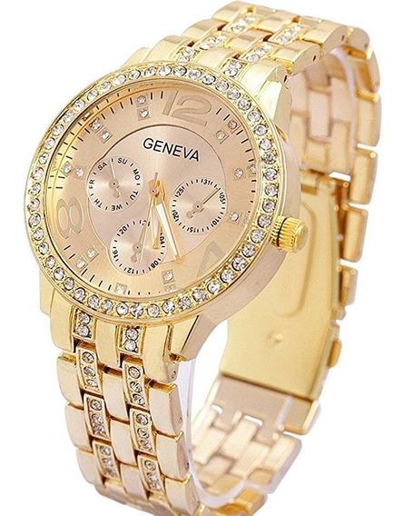 Relógio De Pulso Feminino Geneva Dourado Com Strass Lindo