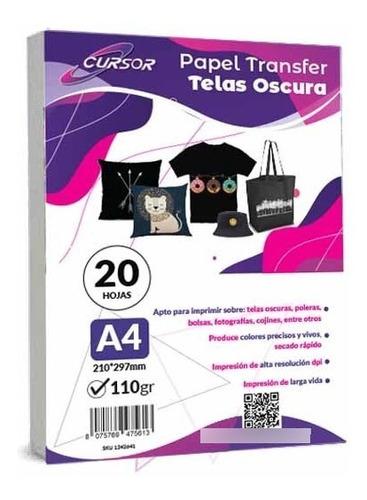 Imagen 1 de 5 de Papel Transfer Telas Oscuras Con Papel Siliconado 20 Hojs A4