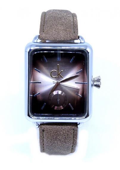 Relógio Masculino Quadrado Analógico Couro Original Tp03 Top