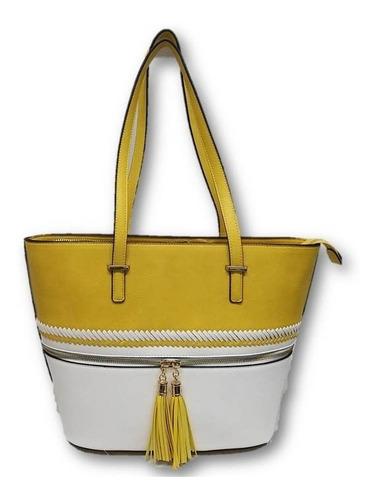 Imagen 1 de 4 de Bolso De Dama Amarilla Diseño Tipo Tejido Textil 430ck