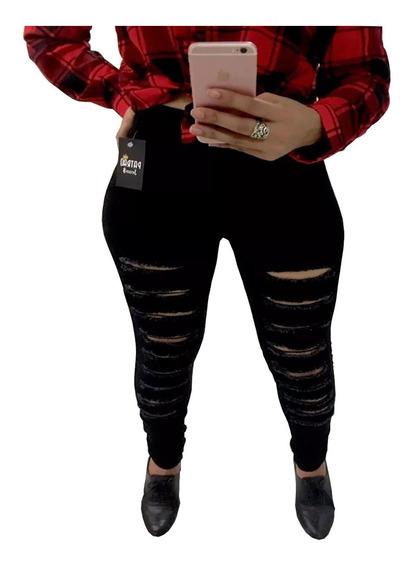 Calça Jeans Feminina Preta Destroyed Lycra Skinny Moda