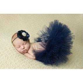 Tutu Baby Com Laço De Flor Azul Marinho