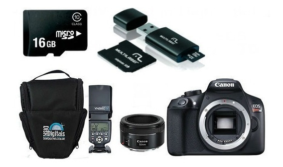 Canon T6 Corpo+50mm 1.8 Stm+flash 560iv+16gb+bolsa