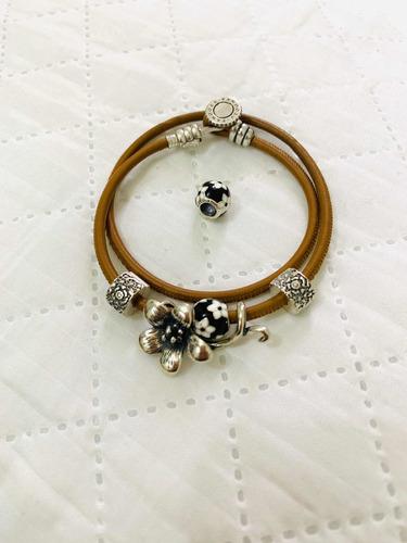 Pulseira/bracelete De Couro Com Prata 925 - Pandora Original