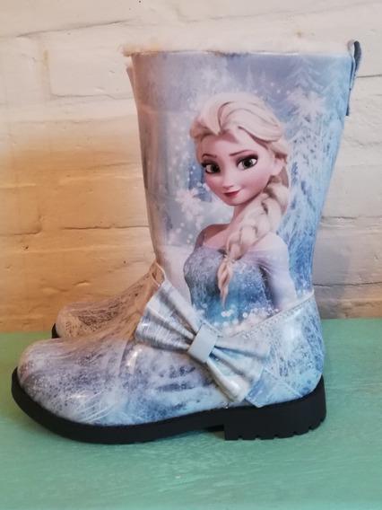 Botas De Lluvia Disney Frozen Niña Con Abrigo De Piel.