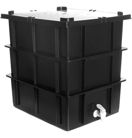 Kit Composteira Caixa Para Compostagem / Minhocário Medio