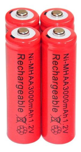 4 Pilas Baterías Aa Recargables 3000 Mah Ni-mh Nuevas