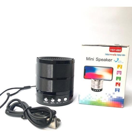 Mini Caixa De Som Preta Bluetooth Mp3 Fm Usb Envio Imediato