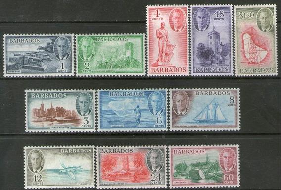 Barbados 11 Sellos Nuevos Velero, Catedral, Cañones Año 1950