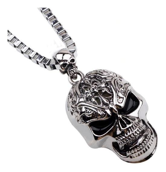 Corrente Cordão Pingente Caveira Aço Inoxidável Skull Punk