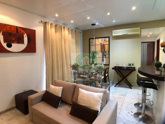 Apartamento Com 2 Dormitórios Mobiliado Para Alugar, 75 M² Por R$ 2.900/mês - Gonzaga - Santos/sp - Ap6016